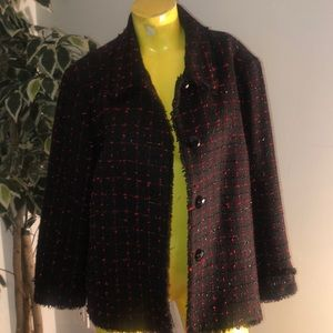 Jones New York Black Tweed & Sparkly Red Blazer